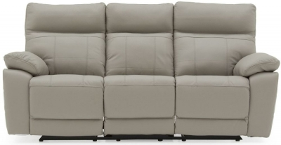 Vida Living Positano Light Grey Leather 3 Seater Recliner Sofa