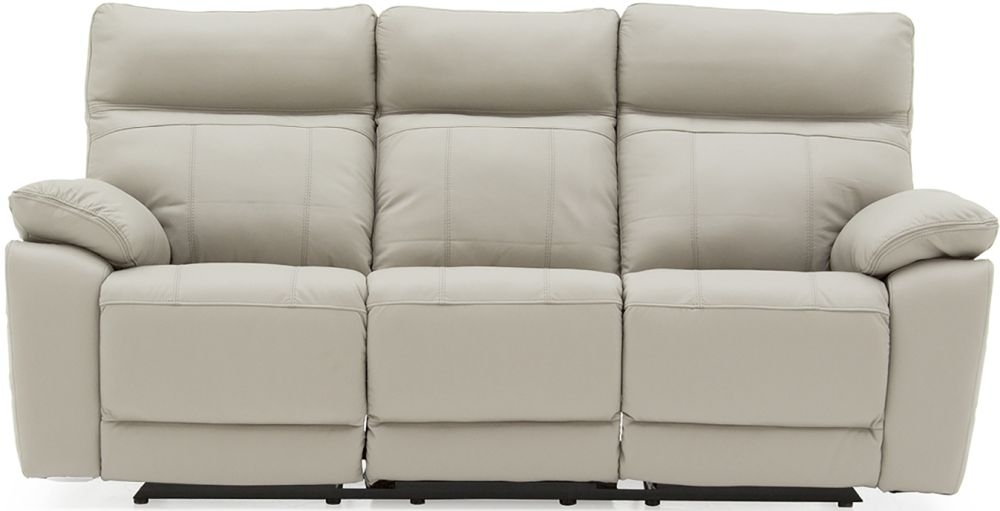 Vida Living Positano Light Grey Leather 3 Seater Electric Recliner Sofa