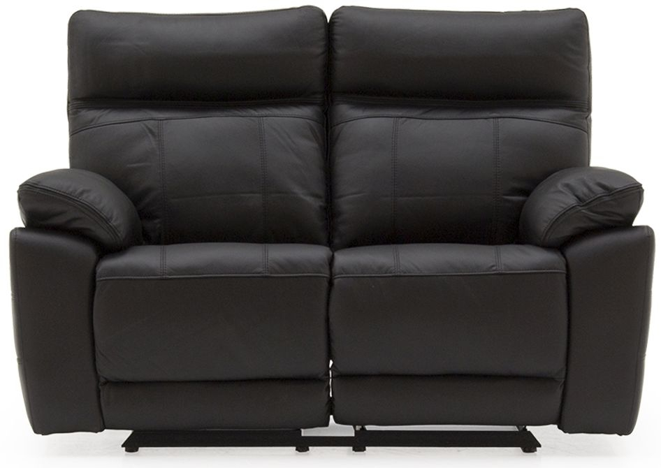 Vida Living Positano Black Leather 2 Seater Recliner Sofa