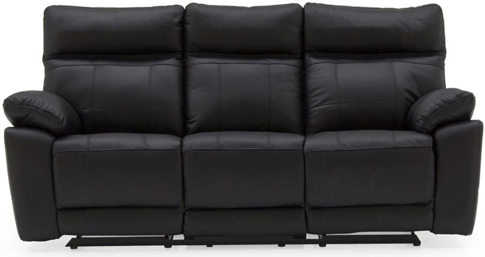 Vida Living Positano Black Leather 3 Seater Recliner Sofa