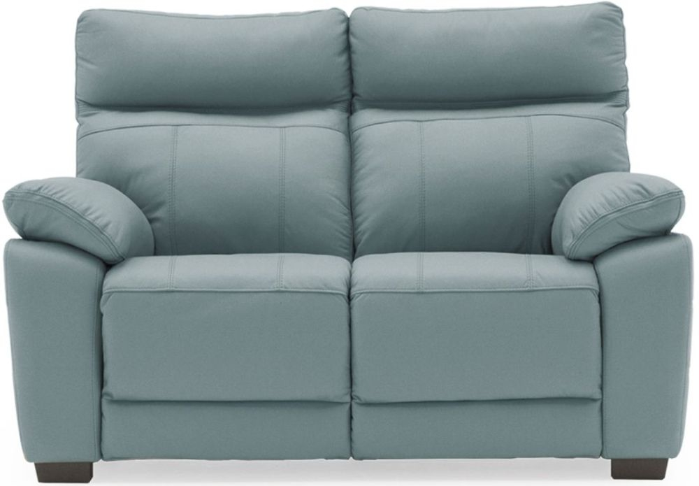 Vida Living Positano Blue Leather 2 Seater Fixed Sofa