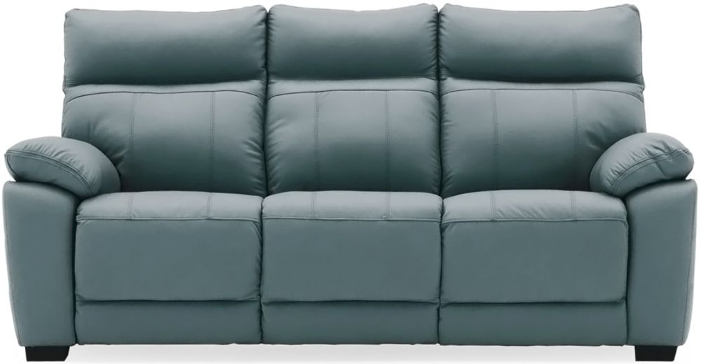 Vida Living Positano Blue Leather 3 Seater Fixed Sofa