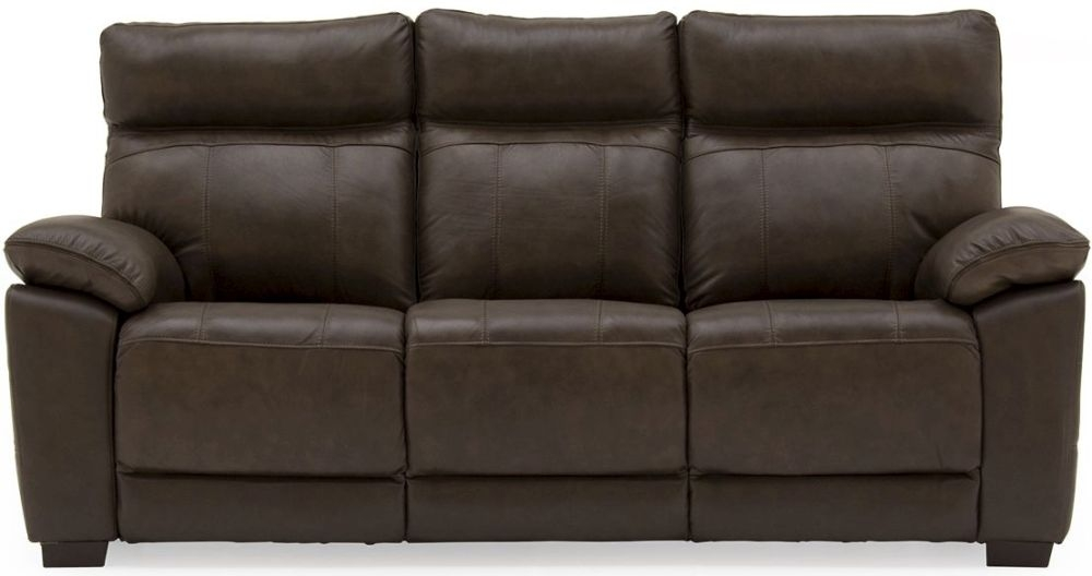 Vida Living Positano Brown 3 Seater Fixed Leather Sofa