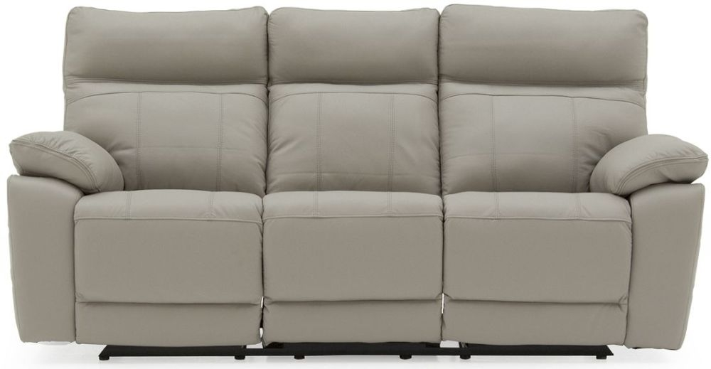 Vida Living Positano Grey Leather 3 Seater Recliner Sofa