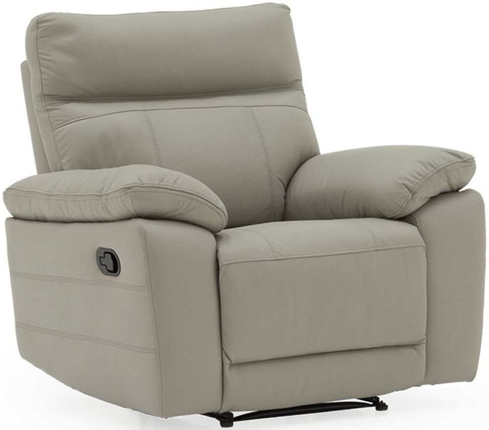 Vida Living Positano Light Grey Leather Electric Recliner Armchair