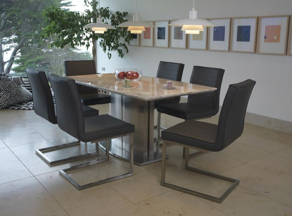 Vida Living Prestige Marble Dining Set with 6 Dining Chairs