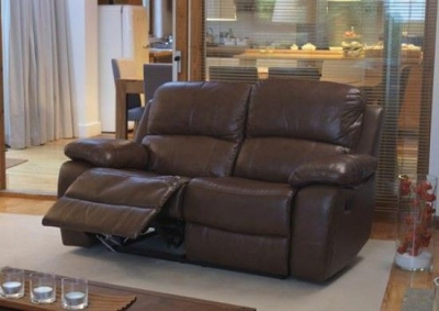 Vida Living Primo 2 Seater Leather Recliner Sofa - Chestnut Brown