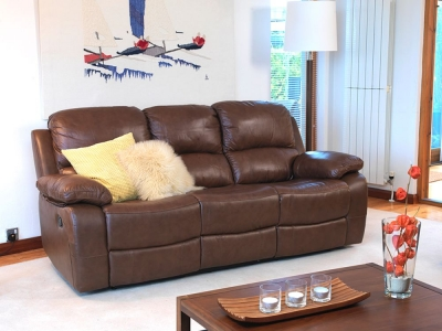 Vida Living Primo 3 Seater Leather Recliner Sofa - Old Saddle Brown
