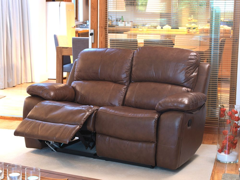 Vida Living Primo 2 Seater Leather Recliner Sofa - Old Saddle Brown