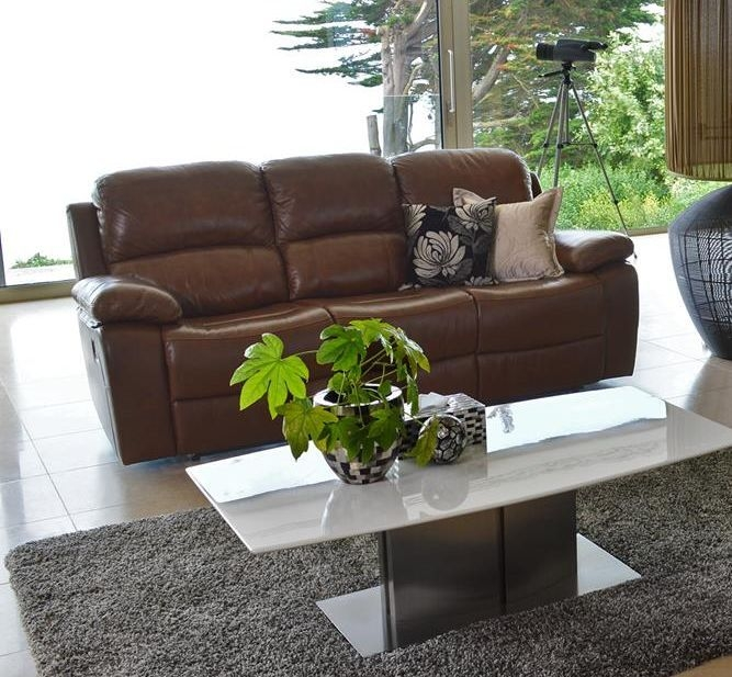 Vida Living Primo 3 Seater Leather Recliner Sofa - Chestnut Brown