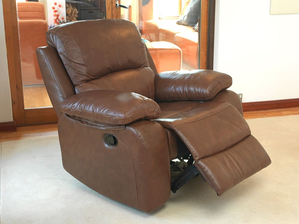 Vida Living Primo Leather Recliner Armchair - Old Saddle Brown