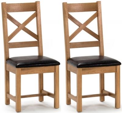 Vida Living Ramore Oak Cross Back Dining Chair (Pair)
