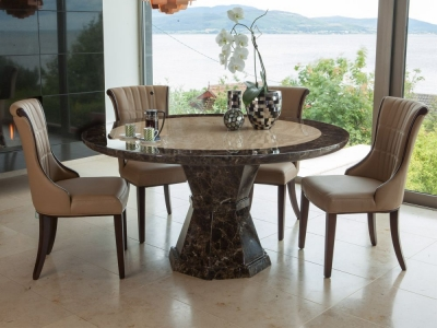 Vida Living Ravelli Marble Dining Set - Small Round with 4 Beige Faux Leather Chairs