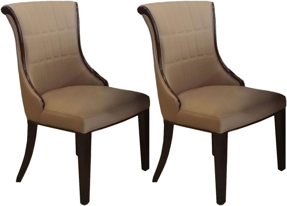 Vida Living Ravelli Faux Leather Dining Chair - Beige (Pair)