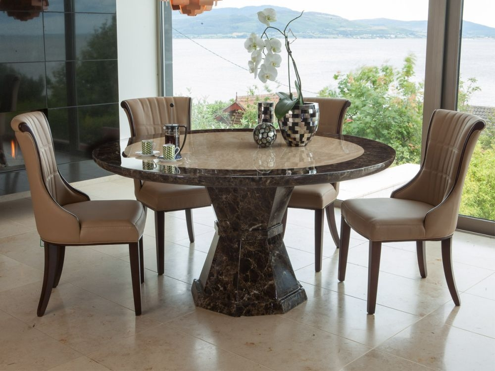 Vida Living Ravelli Marble Dining Set - Large Round with 4 Beige Faux Leather Chairs