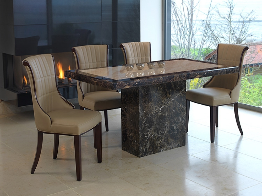 Vida Living Ravelli Marble Dining Set - Large with 4 Beige Faux Leather Chairs