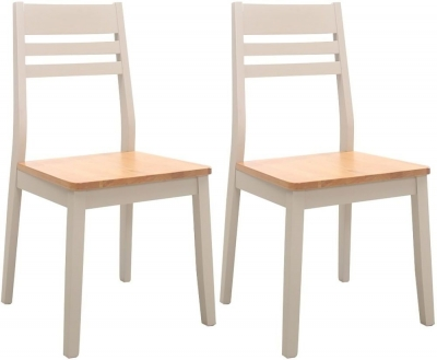 Vida Living Riina Dining Chair (Pair) - Oak and Taupe Painted