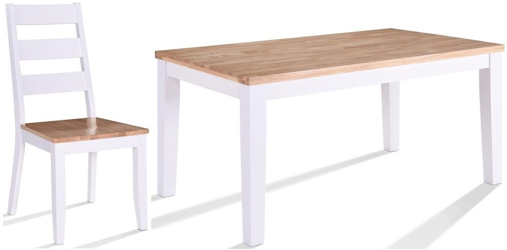 Vida Living Rona Dining Table and Chairs - Oak and Grey Painted