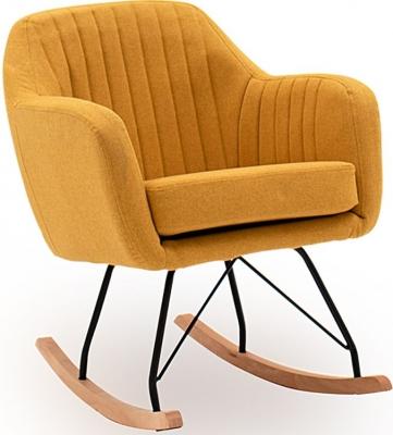 Vida Living Katell Mustard Fabric Rocking Chair