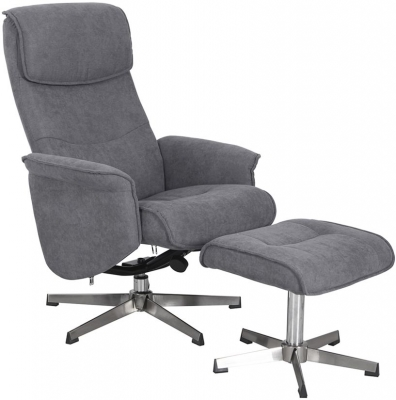 Vida Living Rayna Grey Fabric Recliner Chair with Footstool