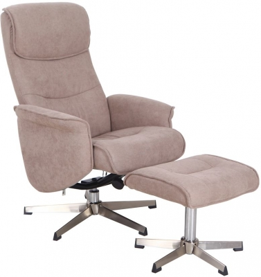 Vida Living Rayna Sand Fabric Recliner Chair with Footstool