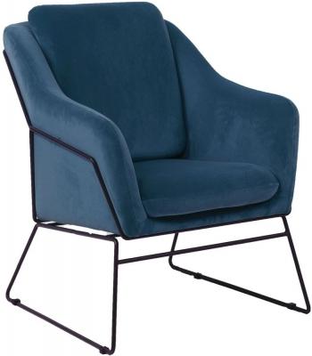 Vida Living Klaus Blue Velvet Accent Chair