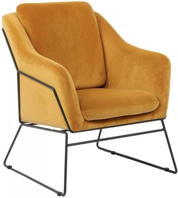Vida Living Klaus Mustard Velvet Accent Chair