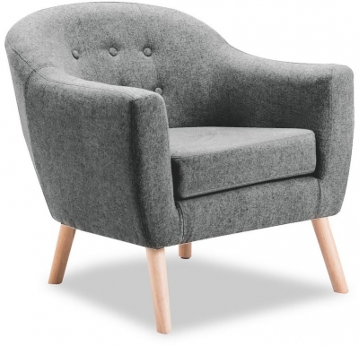 Vida Living Perig Light Grey Fabric Accent Chair