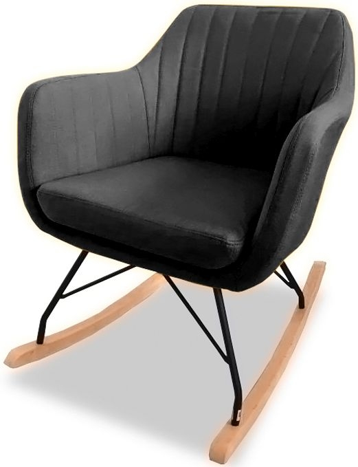 Vida Living Katell Charcoal Rocking Leather Chair
