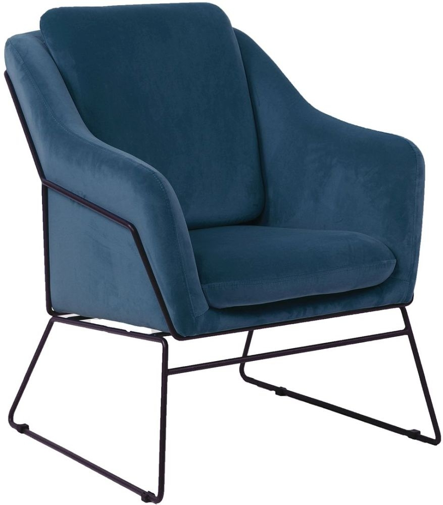 Vida Living Klaus Blue Velvet Fabric Accent Chair