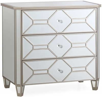 Vida Living Rosa Geometric Mirrored 3 Drawer Dressing Chest