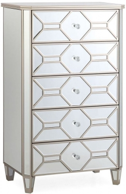 Vida Living Rosa Geometric Mirrored 5 Drawer Chest