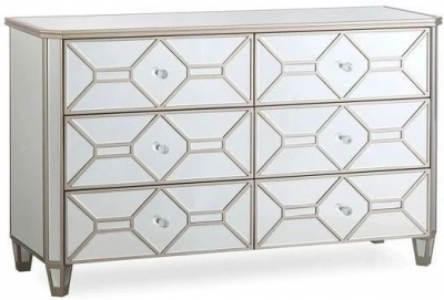 Vida Living Rosa Geometric Mirrored 6 Drawer Dressing Chest