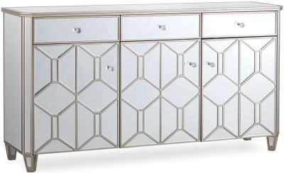Vida Living Rosa Geometric Mirrored 3 Door 3 Drawer Sideboard