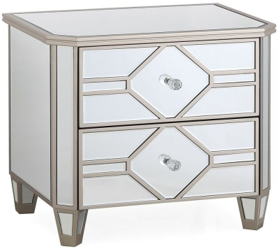 Vida Living Rosa Geometric Mirrored Bedside Table