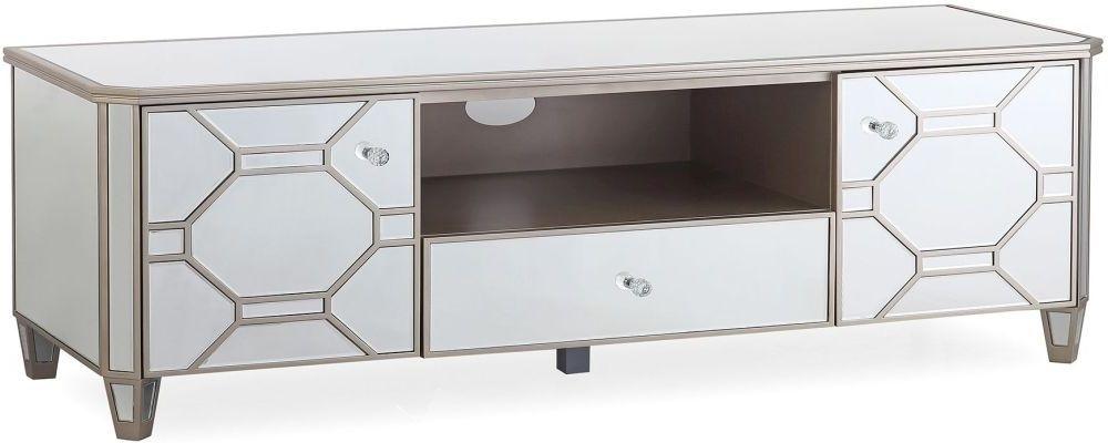 Vida Living Rosa Geometric Mirrored TV Cabinet