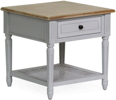 Vida Living Rowan Lamp Table - Mindi Veneer and Grey Painted