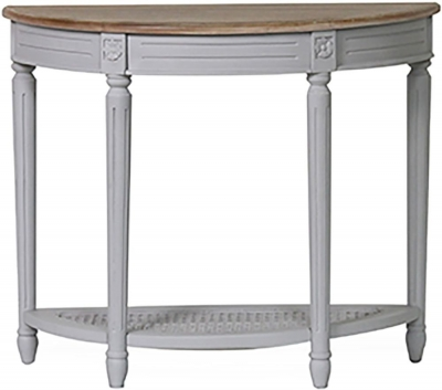 Vida Living Rowan Half Moon Console Table - Mindi Veneer and Grey Painted