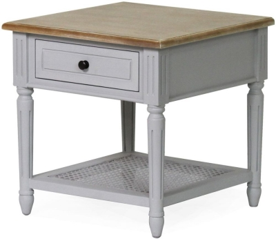 Vida Living Rowan Lamp Table - Mindi Veneer and Grey Painted