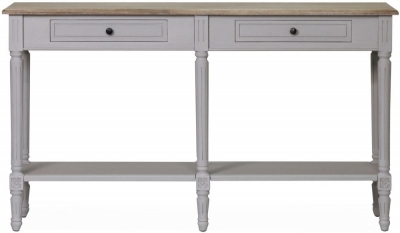 Vida Living Rowan Large Console Table - Mindi Veneer and Grey Painted