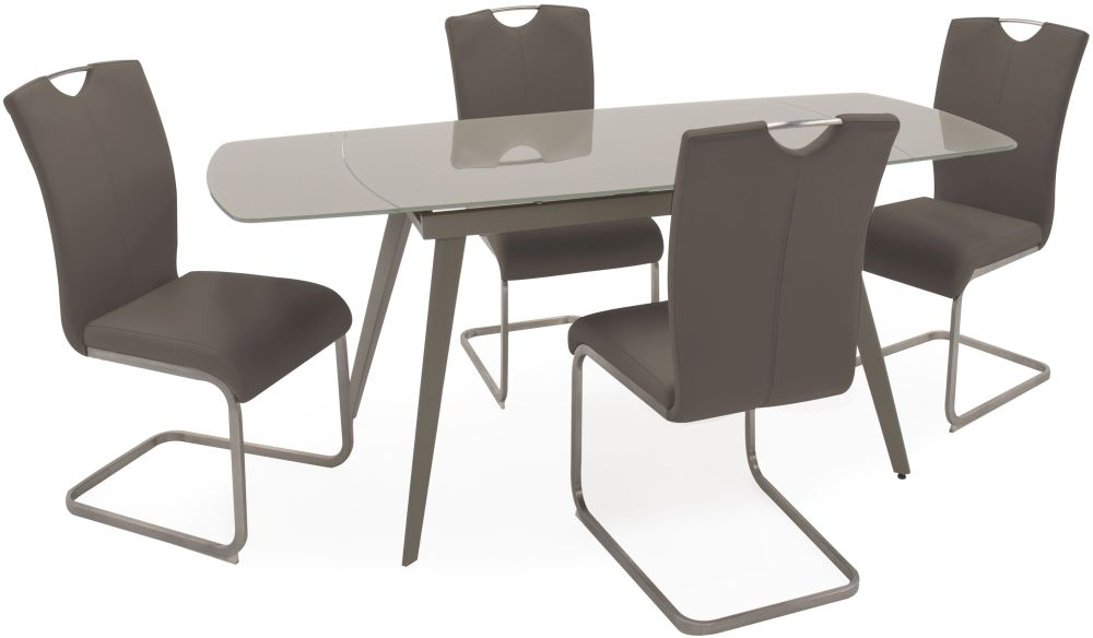 Vida Living Sabina Glass Extending Dining Table and Chairs - Cappuccino