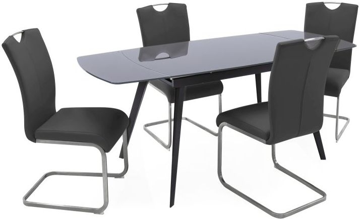 Vida Living Sabina Glass Extending Dining Table and Chairs - Grey