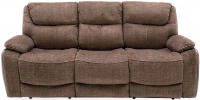 Vida Living Santiago Brown Fabric 3 Seater Recliner Sofa