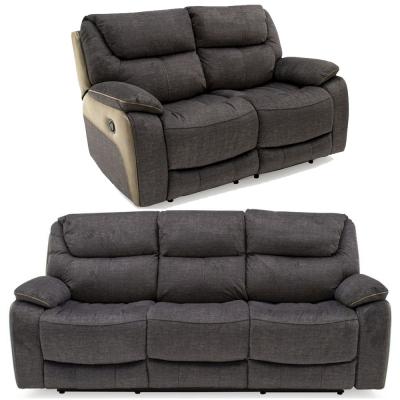 Vida Living Santiago Grey Fabric 3+2 Seater Recliner Sofa