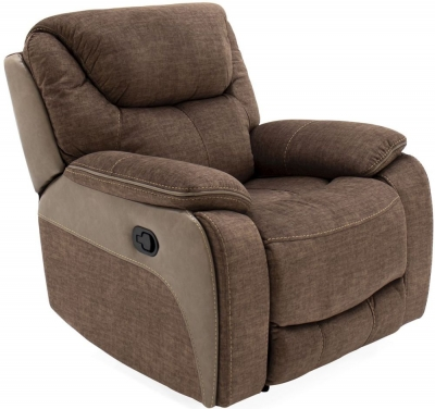 Vida Living Santiago Brown Fabric Recliner Armchair
