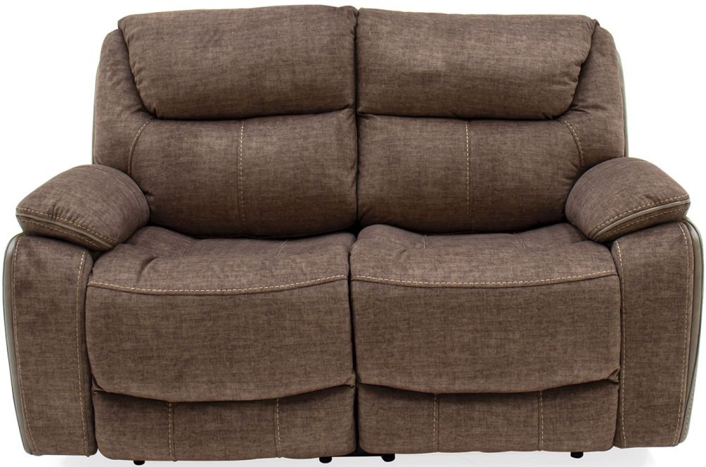 Product photograph showing Vida Living Santiago 2 Seater Recliner Sofa - Brown Fabric