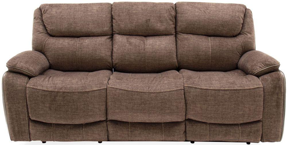 Vida Living Santiago 3 Seater Recliner Sofa - Brown Fabric