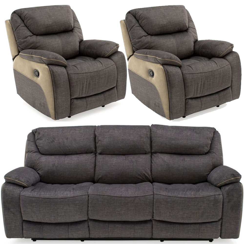Vida Living Santiago Grey Fabric 3+1+1 Seater Recliner Sofa