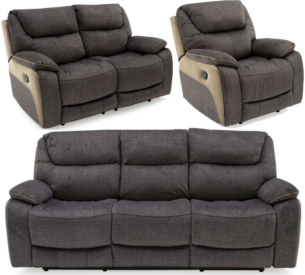 Vida Living Santiago Grey Fabric 3+2+1 Seater Recliner Sofa