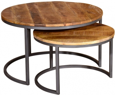 Vida Living Savannah Industrial Round Nest of 2 Coffee Tables